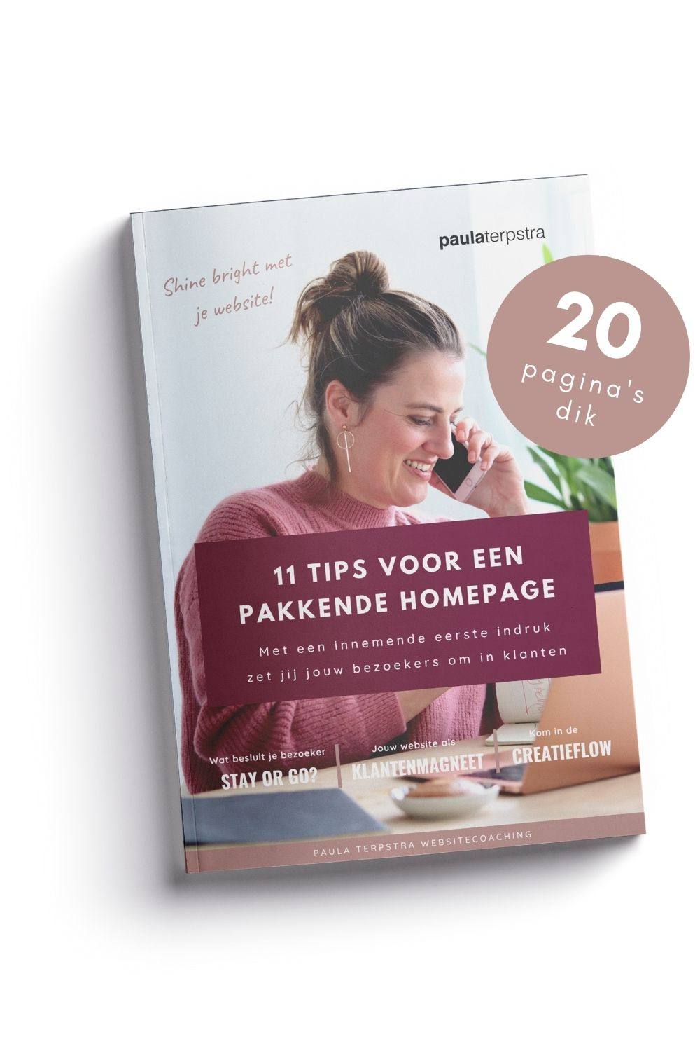 Mock up 11 tips voor een pakkende homepage 20 pagina's dik smal