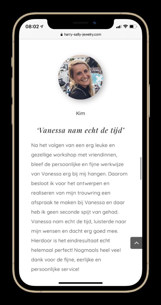 Paula Terpstra Webdesign Testimonial Harry Sally Jewelry Mobile 3