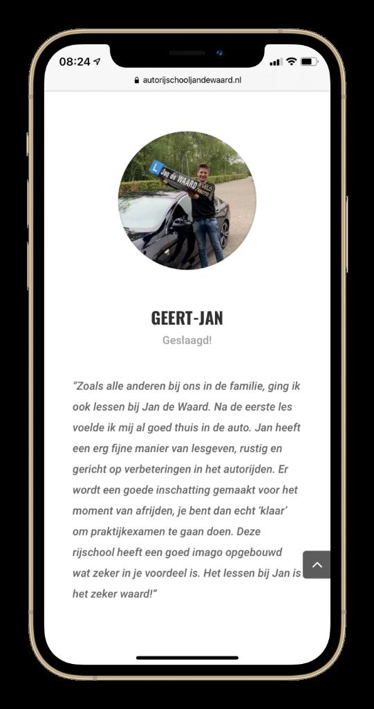 Testimonial Autorijschool Jan de Waard Mobile 3 low res
