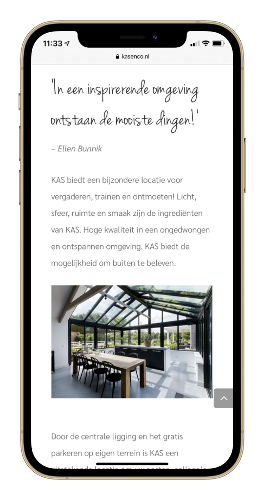Paula Terpstra Webdesign Testimonial KAS Vergaderlocatie Leusden Mobile 1