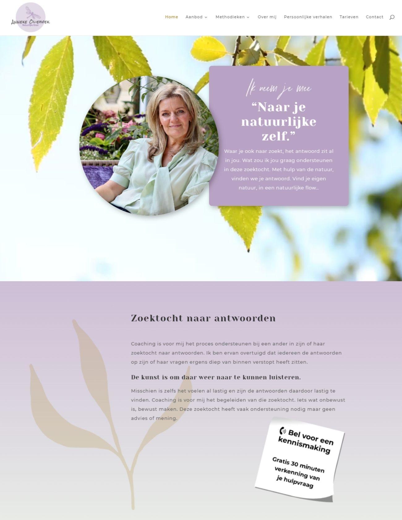 Impressie Anneke Oliehoek Paula Terpstra Webdesign Homepage