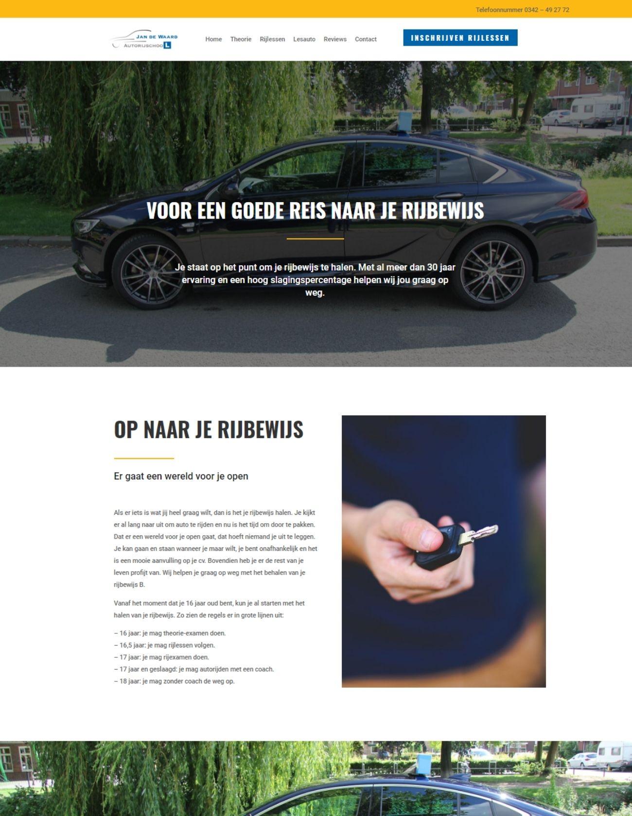 Impressie Autorijschool Jan de Waard Paula Terpstra Webdesign Homepage