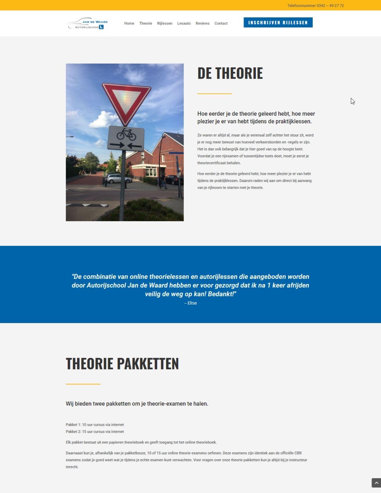 Impressie Autorijschool Jan de Waard Paula Terpstra Webdesign Theorie