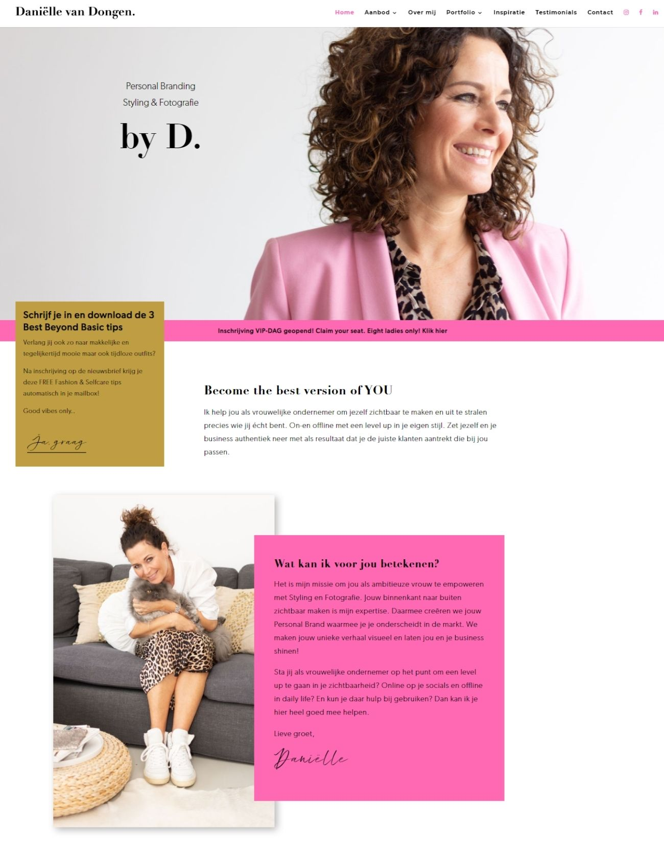 Impressie Danielle van Dongen Paula Terpstra Webdesign homepage