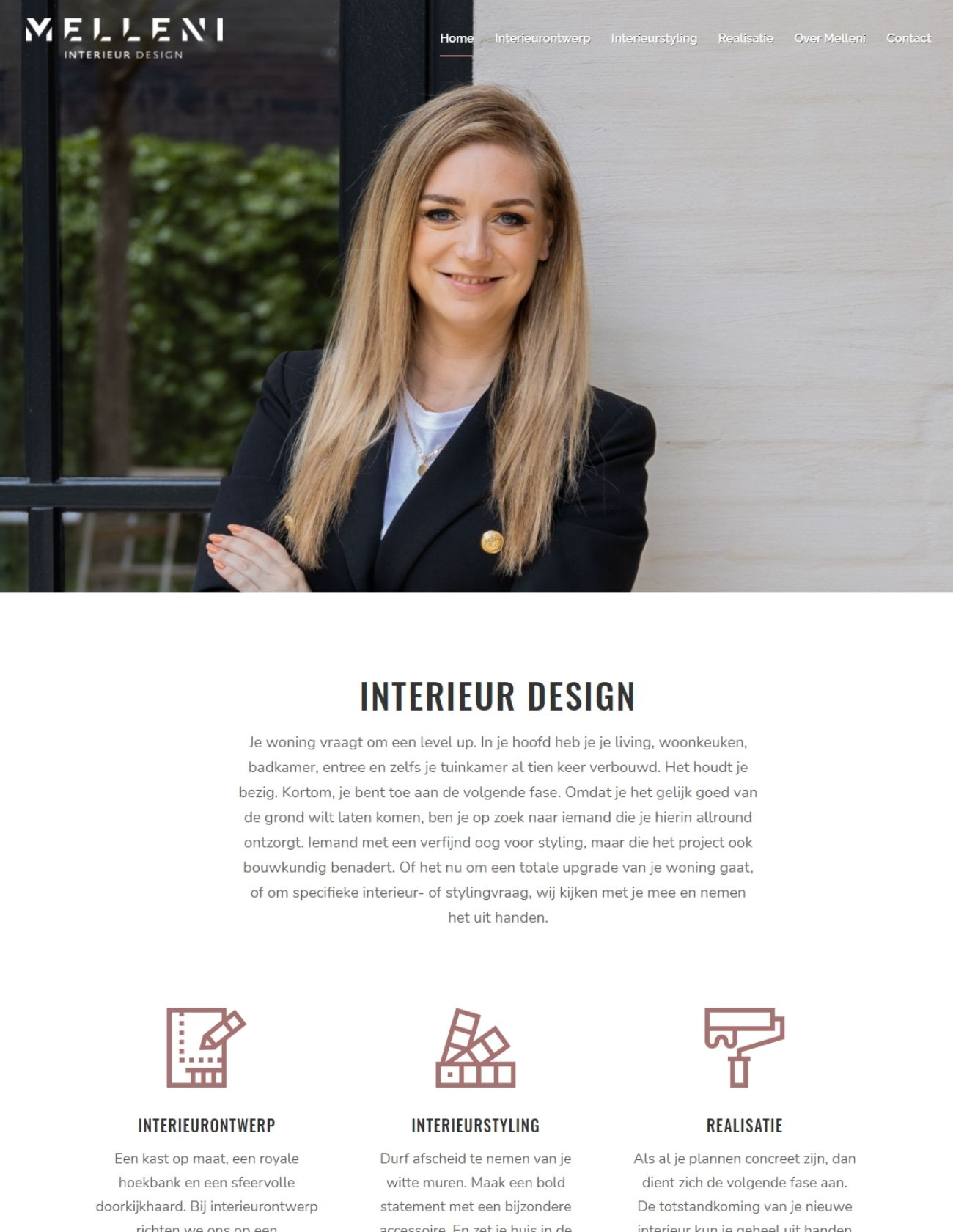 Impressie Melleni Design Paula Terpstra Webdesign homepage
