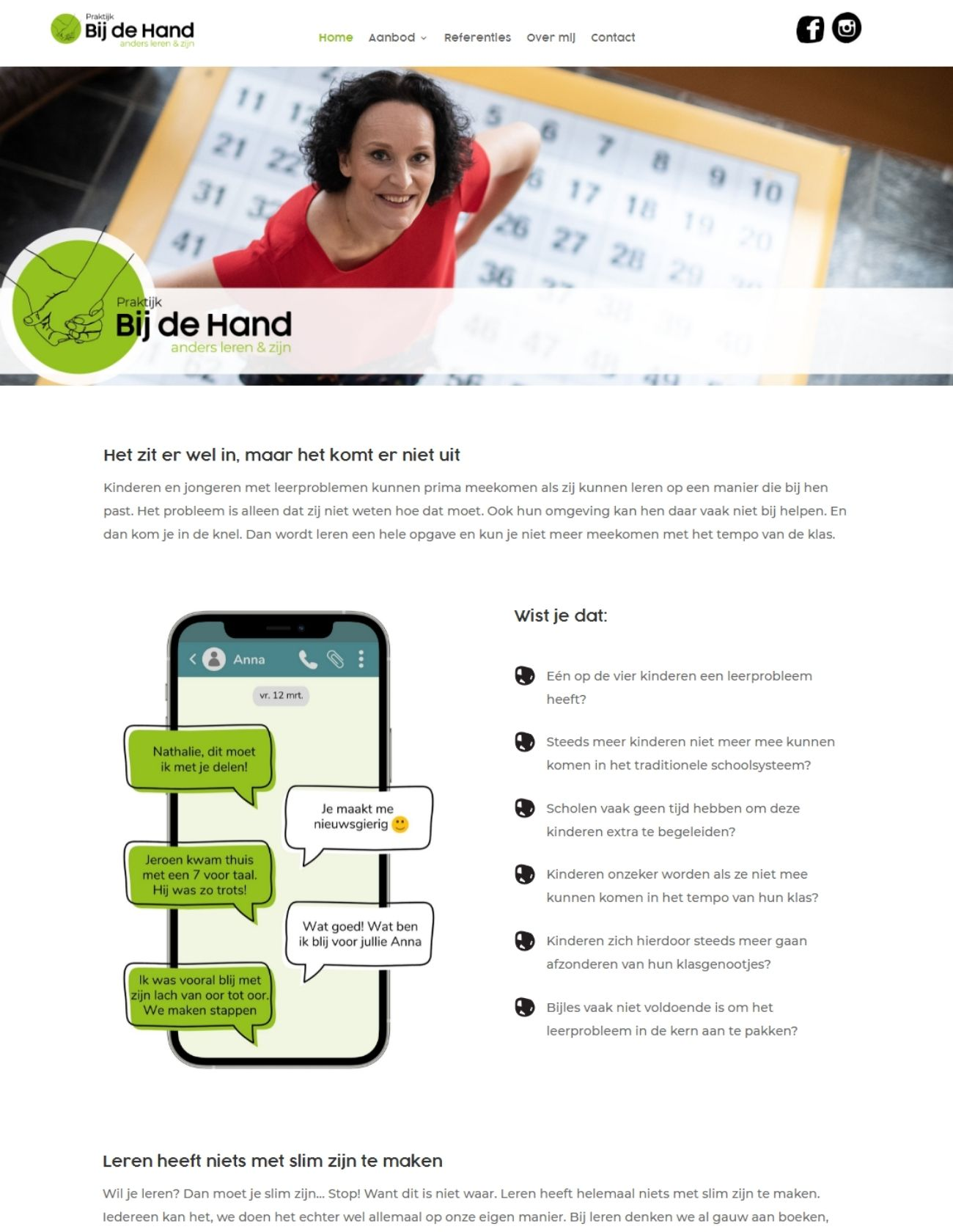 Impressie Praktijk Bij de Hand Paula Terpstra Webdesign Homepage