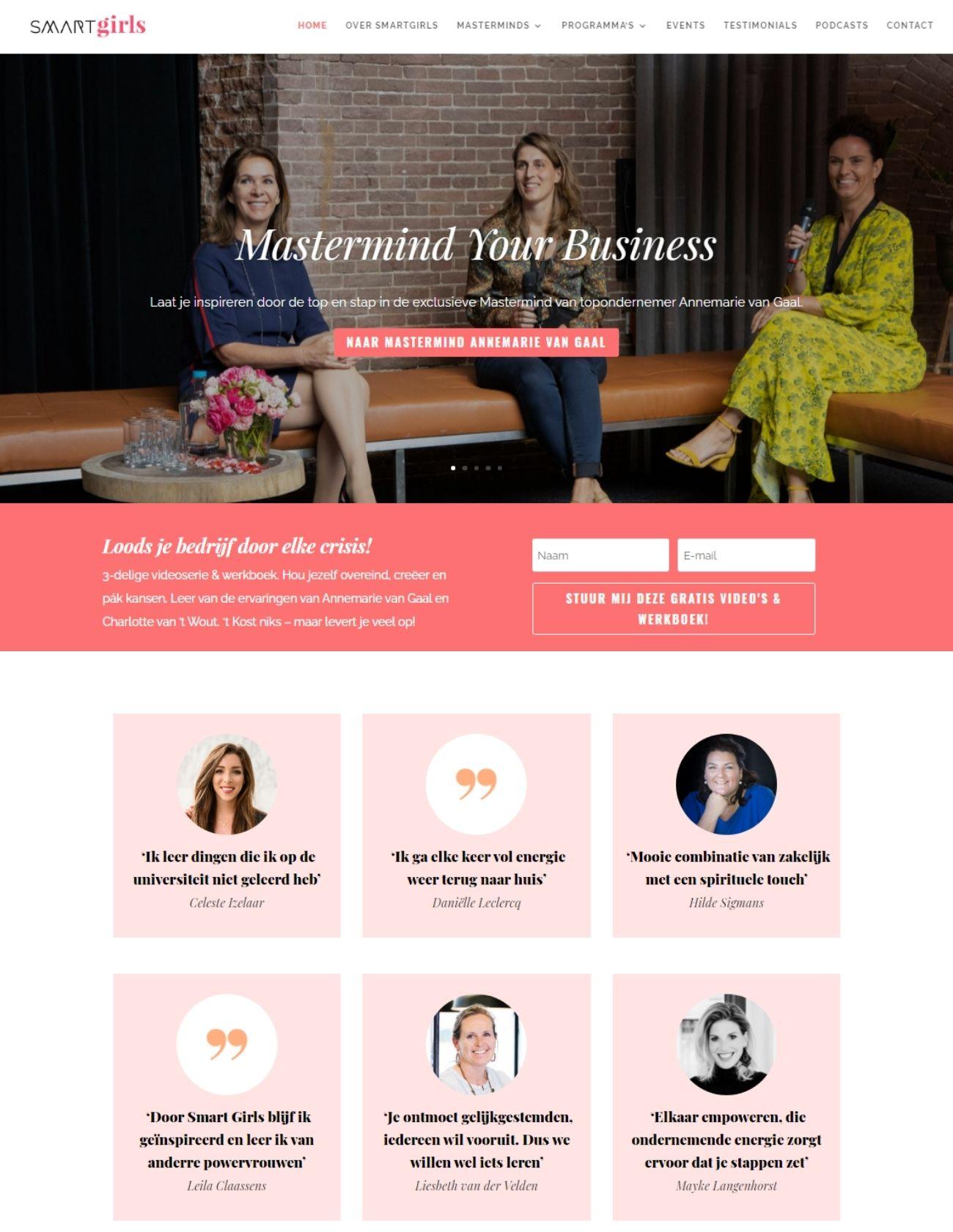 Impressie Smartgirls Paula Terpstra Webdesign Homepage