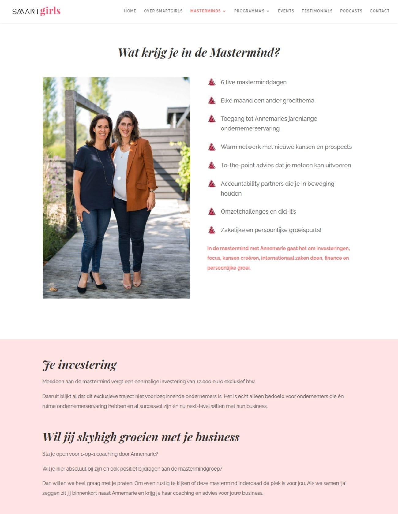 Impressie Smartgirls Paula Terpstra Webdesign Mastermind Annemarie van Gaal