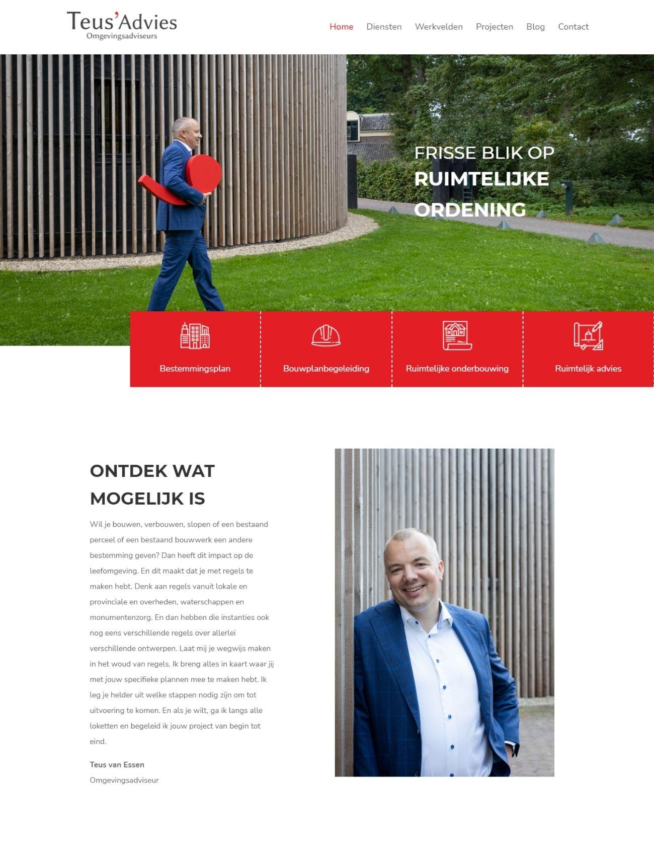 Nieuwe website Teus' Advies homepage