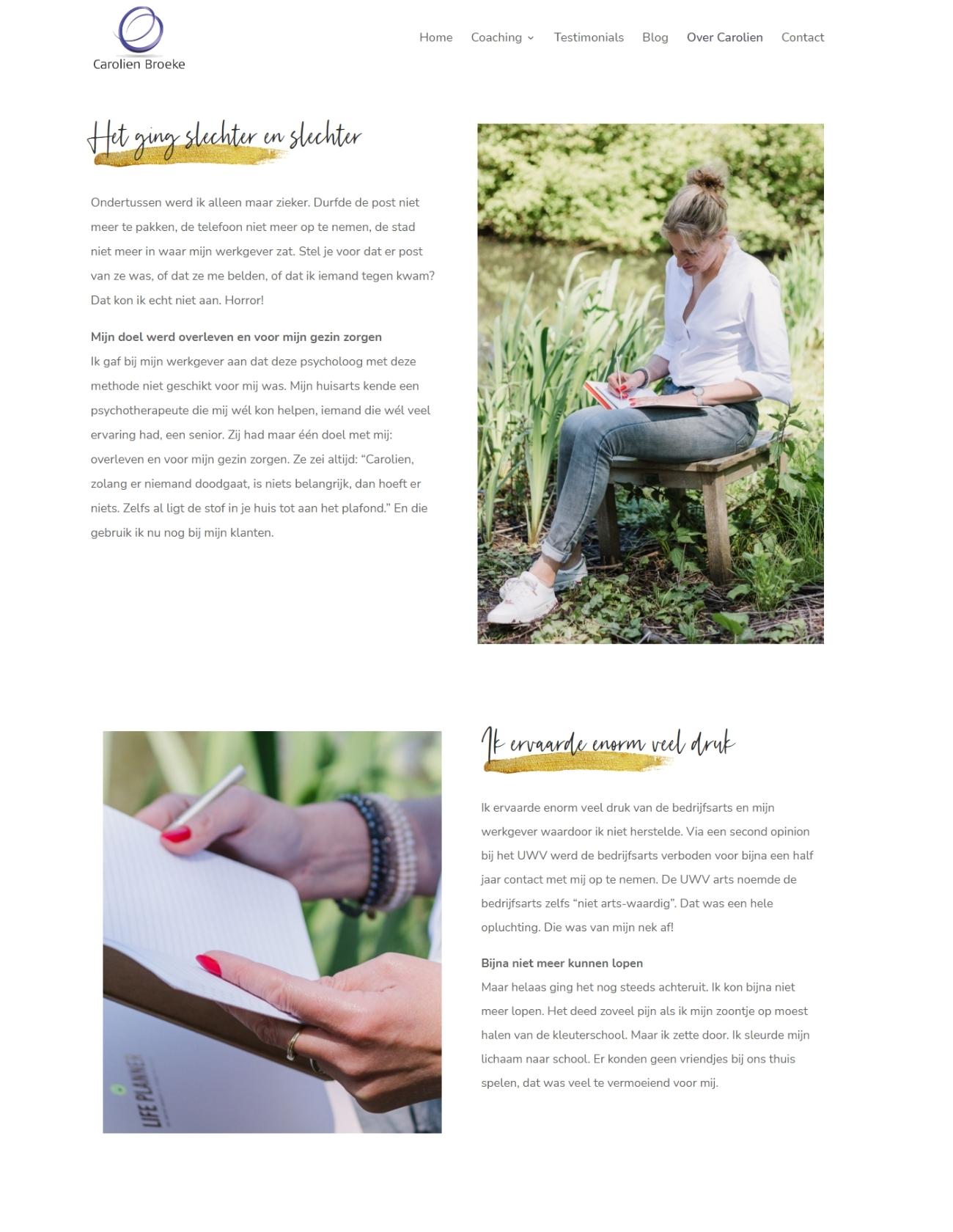 Coaching pagina website Carolien Broeke
