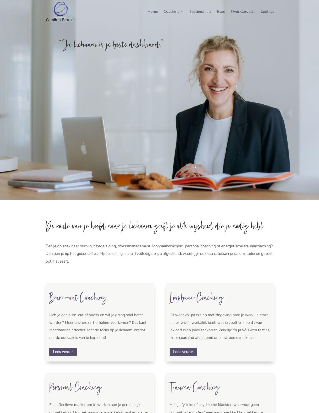 Nieuwe homepage website Carolien Broeke