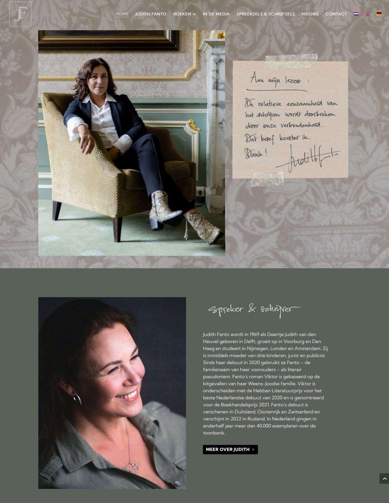 Nieuwe homepage website Judith Fanto