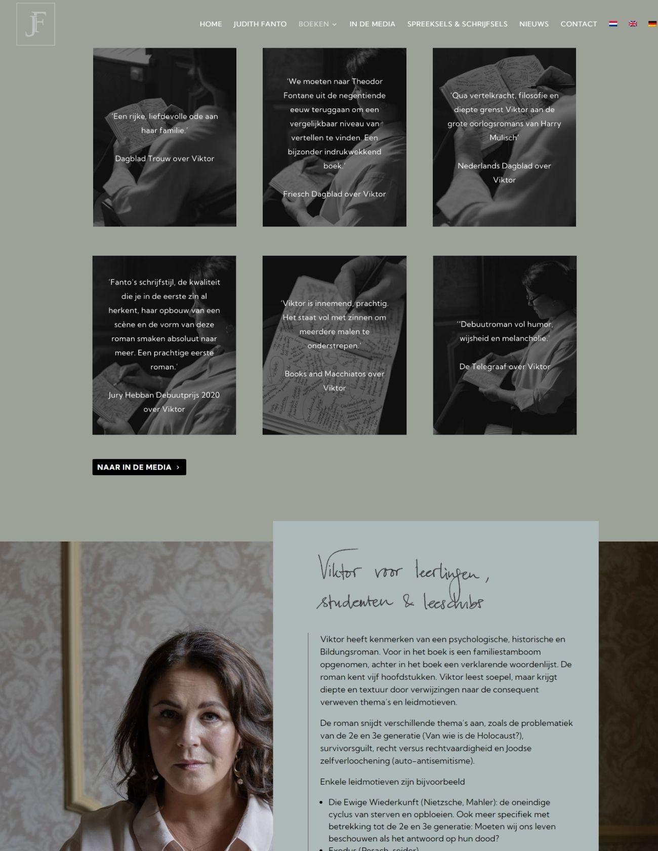 WebPagina Boeken Viktor website Judith Fanto